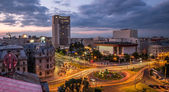 Bucharest Aerial View Sunset — Stock Photo