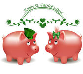 St. Patrick Day, pigs moneybox — Stock Vector