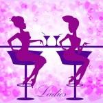 Ladies in cafe — Stock Vector #64183069