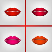 Red lips set — Stock Vector