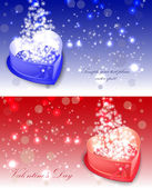 Red ahd blue hearts shaped box — Stock Vector