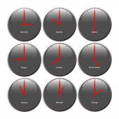 Grey clocks with glossy area showing world time, the red pointer — Stock Photo