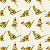 Wild Cats seamless pattern — Stock Vector