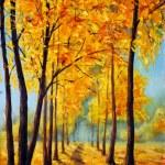 Original oil painting beautiful autumn park on canvas. Autumn harmony. — Stock Photo #63389031