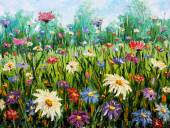 Original oil painting on canvas Wildflowers. — Stock Photo