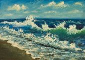 Pintura al óleo de la playa, hermosas ondas en la lona. Orilla del mar. — Foto de Stock