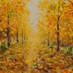 ������, ������: Autumn landscape beautiful park on painting Golden autumn