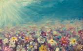 Abstract field flowers painting. Beautiful flowers on field. — Stock Photo