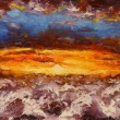 Abstract red clouds painting on canvas — Stock Photo #71680163