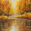 Постер, плакат: Golden autumn in river Yellow oil painting Art