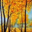 Постер, плакат: Painting autumn park Autumn trees Autumn harmony