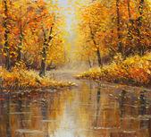 Złotej jesieni w rzece. Żółty obraz olejny. Sztuka. — Zdjęcie stockowe