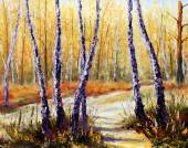 Birch trees in a sunny forest. Palette knife artwork. Impressionism. Art. — Stock Photo
