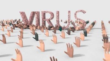Mani che chiedono aiuto ma vengono colpite dal virus — Stock Video