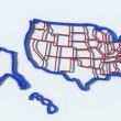 USA map outline with blue and red — Stock Photo #63409761