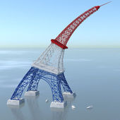 Eiffel Tower 3D folded with colors of France and the sea — Stock Photo