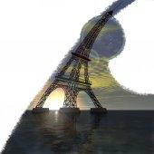 Eiffel Tower 3D bent sea at sunset grunge — ストック写真