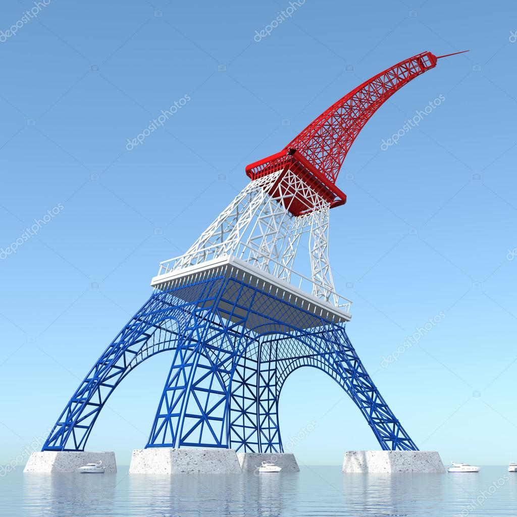 埃菲尔铁塔 3d 折叠与法国和大海的颜色