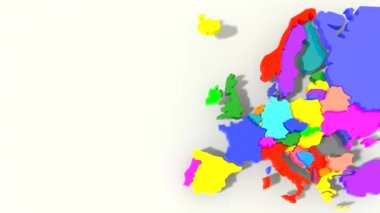 Animation Europe Map 3D — Stock Video