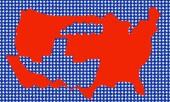 Usa karta med indikation ship — Stockfoto