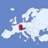 Europe Map 3D Relief Switzerland — Stock Photo