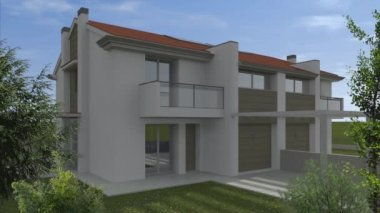 3D animation studio solar urban building — Vídeo de stock