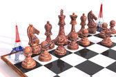 Eiffel Tower 3D replaces tower in chess game — Stock Photo