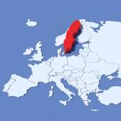3D Map of Europe with indication Sweden — Stock Photo