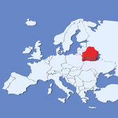 3D Map of Europe with indication Belarus — Stock Photo