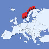 3D Map of Europe with indication Norway — Stock Photo