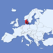 3D Map of Europe with indication Denmark — Stock Photo