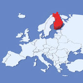 3D Map of Europe with indication Finland — Stock Photo
