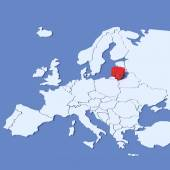 3D Map of Europe with indication Lithuania — Stock Photo