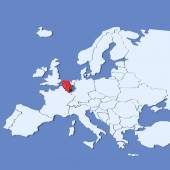 3D Map of Europe with indication Belgium — Stock Photo