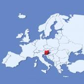 3D Map of Europe with indication Slovenia — Stock Photo