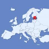 3D Map of Europe with indication Estonia — Stock Photo
