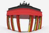 Braniborská brána 3d design s barvami Německo — Stock fotografie
