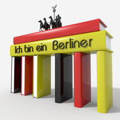"Brandenburg Gate with books colors and Germany  ""Ich bin ein Berliner "" — Stock Photo"