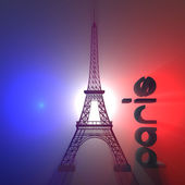 Eiffel Tower with 3D volumetric light colors France and Paris — Stock Photo