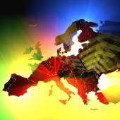 Europe map with 3D volumetric lights — Stock Photo