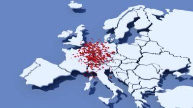 3D map Europe with cloud of hearts France — Stock Video