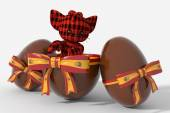 Easter egg chocolate with Spain colors and peluche — Foto Stock