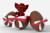 Easter egg chocolate with Poland colors and peluche — Stock Photo