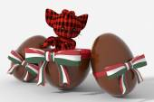 Easter egg chocolate with Hungary colors and peluche — Stock Photo