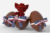 Easter egg chocolate with USA colors and peluche — Stock Photo