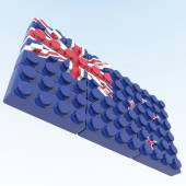 3D objects with colors flag New Zealand — Stock Photo