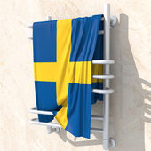 3D objects with colors flag Sweden — Stock Photo