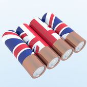 3D objects with UK flag colors — Stock Photo