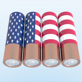 3D objects with USA flag colors — Stock Photo