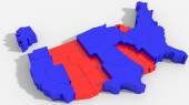 3D USA map with indication IN — Stock Photo